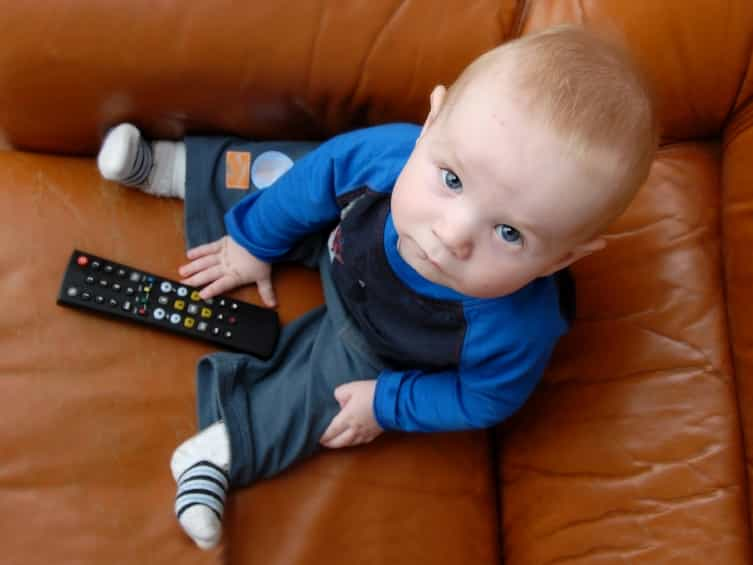 baby with remote